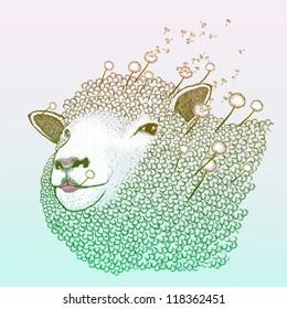 Spring dandelion ewe