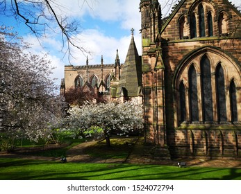 Spring day around Chester Cathedral, Chester, Cheshire, United Kingdom