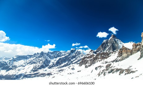 Spring day on the glacier of Mount Cervinio, Italy