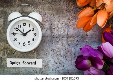 Spring Daylight Saving Time concept with with clock and flowers on gray, flat lay, Spring Forward