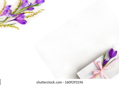 Spring decoration. Frame of violet crocuses, yellow flowers mimosa and white gift box with pink ribbon and bow on a white background with space for text. Top view, flat lay