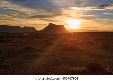 Spring desert sunset, Utah, USA.