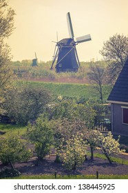 spring in dutch countryside with windmills