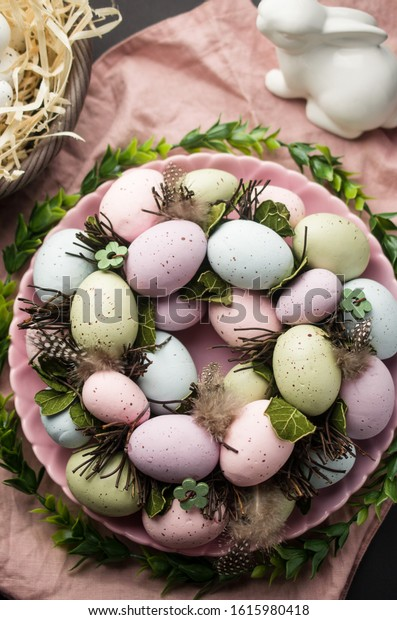 Spring easter wreath with eggs