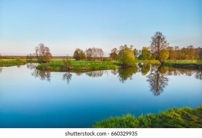 Spring evening. River Sukhodrev. Kaluga region, Russia