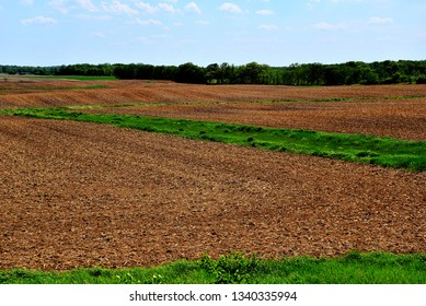 Spring farm field plowed and planted in south eastern Wisconsin on a clear day.