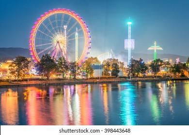Spring Festival Stuttgart - Germany, long exposure with ligthtrails