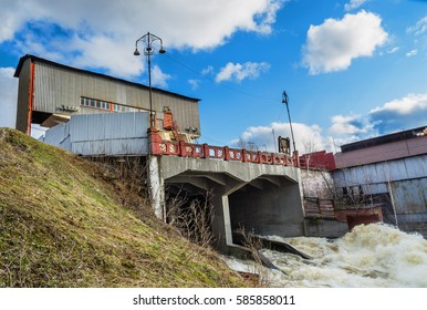 The spring flood. The dam on the river Tagil. Ural, Russia