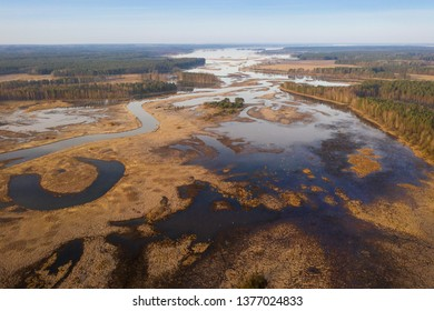 Spring flood on floodplain. Spring river view from above