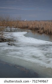 Spring flood of the river. The ice and snow.