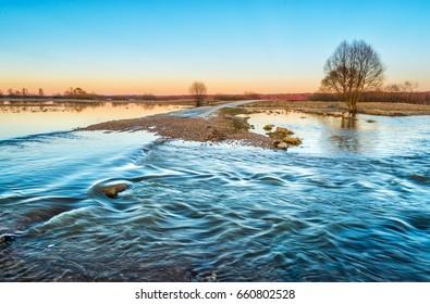 Spring flood. River Sukhodrev. Kaluga region, Russia