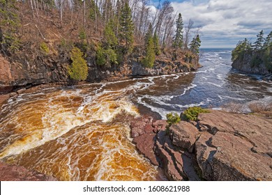 Spring Floods Rushing to the Great Lakes on teh Temperance River heading to Lake Superior