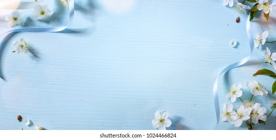 Spring floral background with white blossom; Easter flower