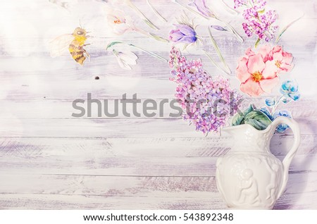 Spring floral decoration watercolor paper purple stock photo edit spring floral decoration with watercolor paper purple flowers on a white rustic wooden background natural mightylinksfo