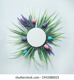 Spring flower arrangement with green leaves lavander flower and