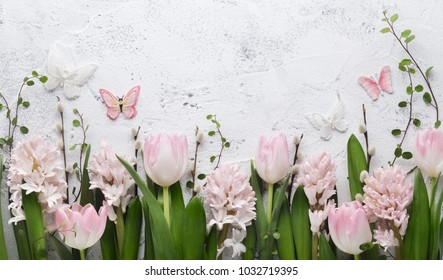 Spring flower and butterfly on vintage background