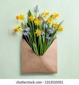 Spring flower in envelope,easter decoration