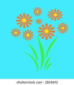 spring  flower garden  orange on  blue background