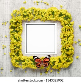 Spring flower wreath and blank card