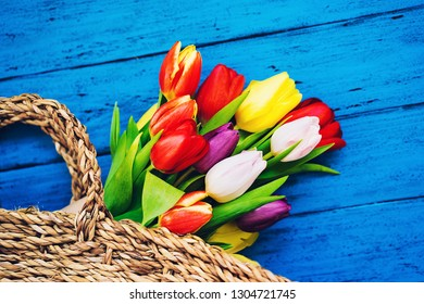 Spring flowers bouquet in wicker straw basket. Beautiful tulips on rustic wooden bright color turquoise blue background. Flat lay, top view, copy space.