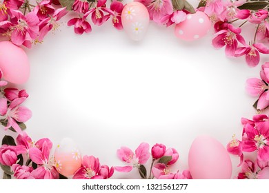 Spring flowers and easter eggs with copy space