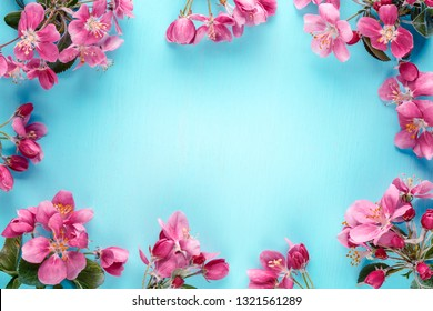 Spring flowers frame background