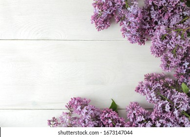 Spring flowers. Frame of twigs of blooming lilac on a white wooden table. top view. place for text