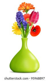 spring flowers in the green decorative vase isolated on white background
