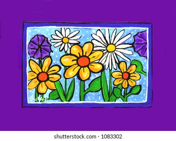 Spring Flowers Illustration with Purple Border