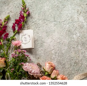 Spring flowers on gray background