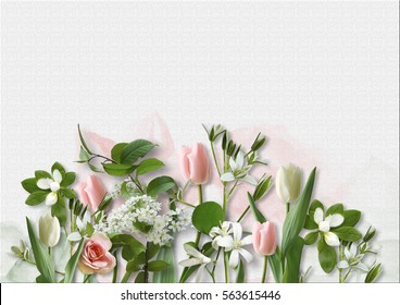 Spring flowers images stock photos vectors shutterstock spring flowers on white paper background greeting card with spa mightylinksfo