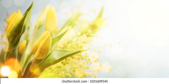 Spring flowers on the wooden background, greeting card for Mothers Day, 8 March, easter