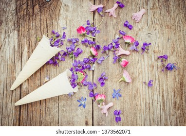 Spring flowers on a wooden background/toned photo