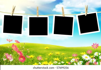 Spring flowers with photos on clothes line