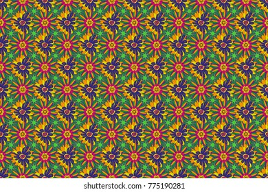 Spring flowers seamless pattern. Small floral pattern in blue, green and yellow colors. Raster floral illustration and floral seamless texture. Flower pattern for printing or fabric.
