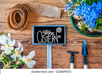 Spring Flowers, Sign, Calligraphy Frohe Ostern Means Happy Easter