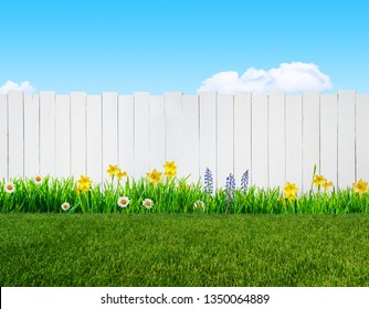 spring flowers and wooden garden fence background