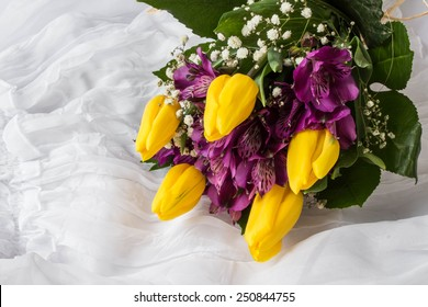 Spring flowers - yellow tulip and purple alstroemeria (lily of the Incas or Peruvian lily) - white background