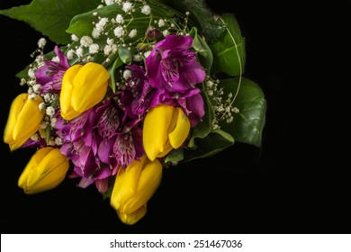 Spring flowers - yellow tulip and purple alstroemeria (Peruvian lily or lily of the Incas) - black background