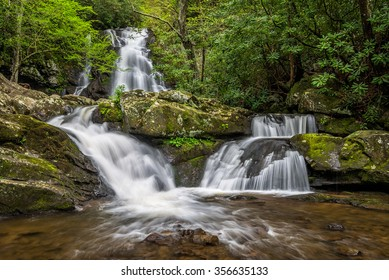 Spring foliage and triple falls in the Great Smoky Mountains National Park in Tennessee