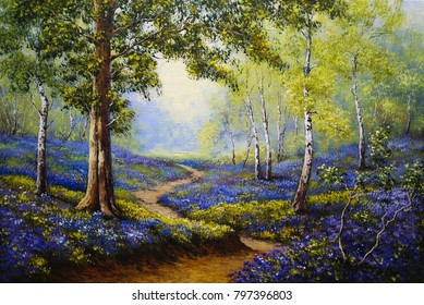Spring forest. Flowers. Oil paintings landscape. Fine art.