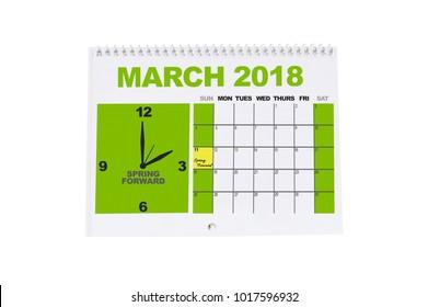 Spring Forward Daylight Savings March 2018 Calendar white background