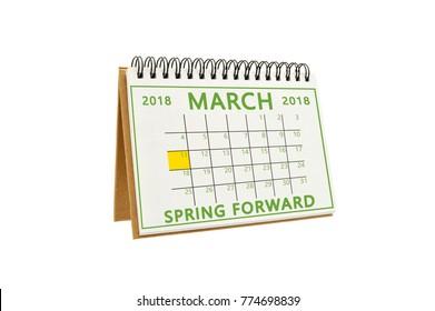 Spring Forward Daylight Savings March 11 Calendar white background