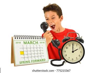 Spring Forward Daylight Savings March 2018 Calendar, 2 o'clock alarm clock boy screaming into phone white background