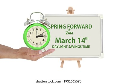 Spring Forward March 14 Daylight Savings Time white board