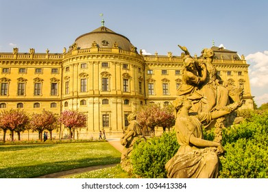 Spring Garden in blossom at Residence in Wurzburg, Germany, early Spring, sunny day