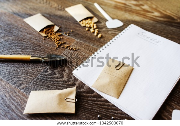 spring garden preparation for sowing vegetable seeds and planning. Pumpkin, coriander with labels, peat pots and tools on note book. Seasonal garden work.