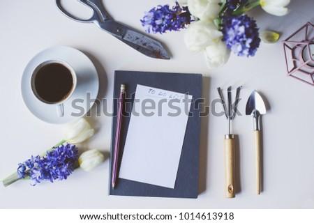 Spring gardener plan do list on stock photo edit now 1014613918 spring gardener plan or to do list on table with empty space on white background mightylinksfo