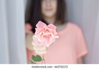 spring, girl holding a pink rose