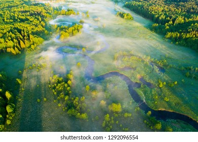 Spring green meadow from above. Aerial spring landscape with river. Green landscape of Belarus. Sunny may weather. Clean environment.